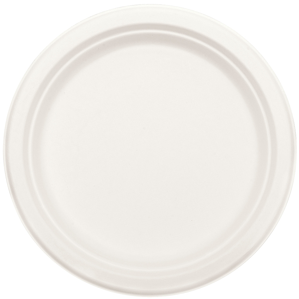 Eco-Friendly White Sugar Cane Dinner Plates 50ct Image #2