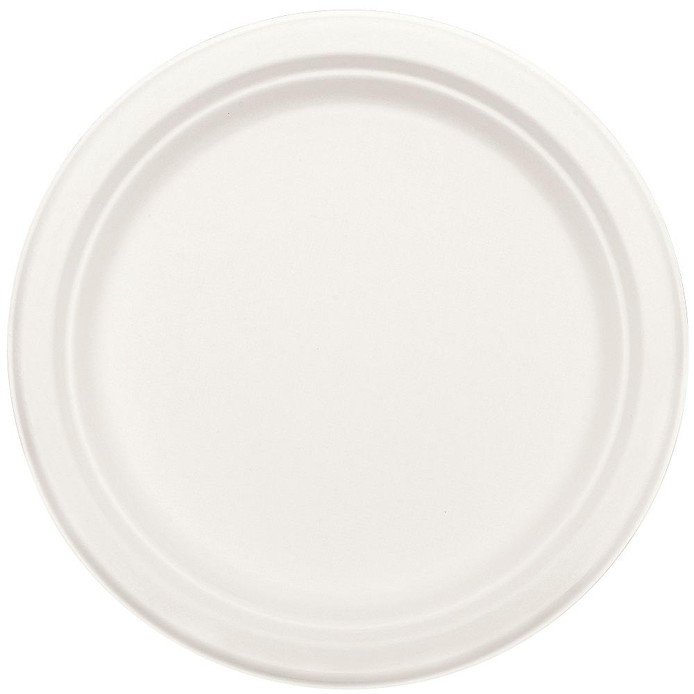 Eco-Friendly White Sugar Cane Dinner Plates 50ct Image #2