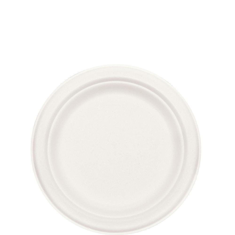 Eco-Friendly White Sugar Cane Dessert Plates 50ct Image #2
