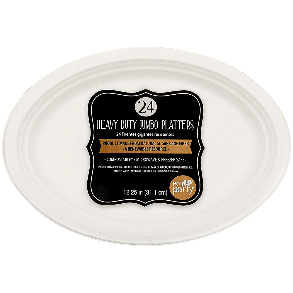 Eco-Friendly White Sugar Cane Platters 24ct Image #1