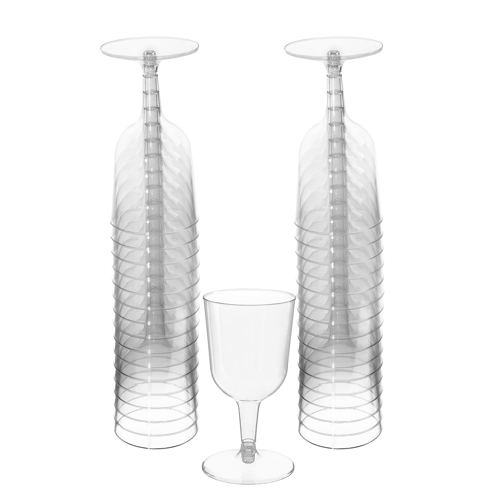 Big Party Pack CLEAR Plastic Wine Glasses 32ct Image #1