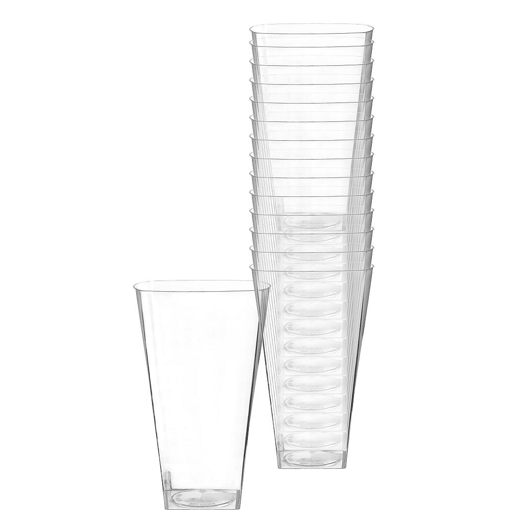 CLEAR Premium Plastic Square Cups 14ct Image #1
