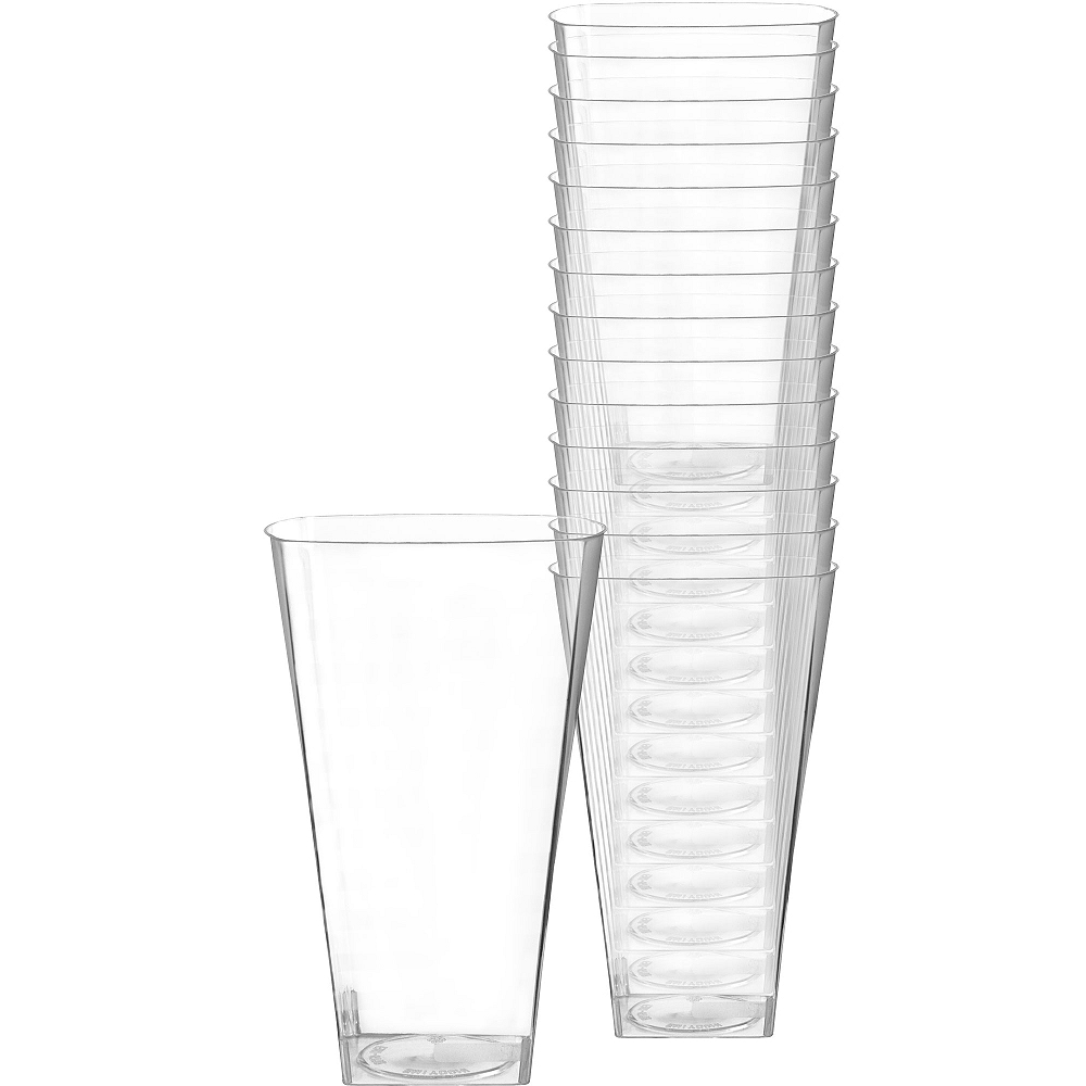 CLEAR Premium Plastic Square Cups 14ct Image #1