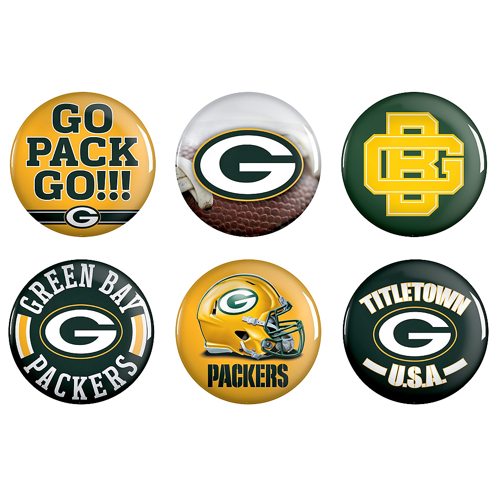 Green Bay Packers Buttons 6ct Image #1