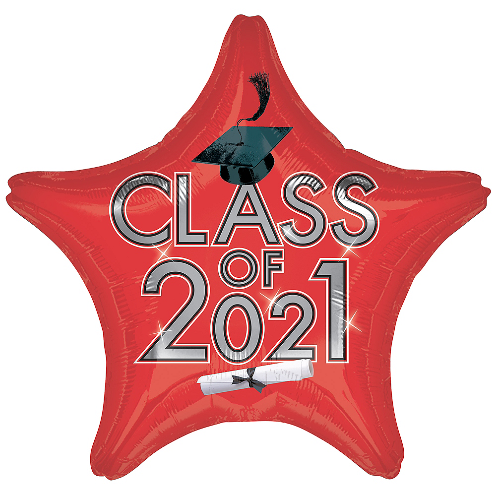 Red Class of 2020 Graduation Star Balloon, 19in Image #1