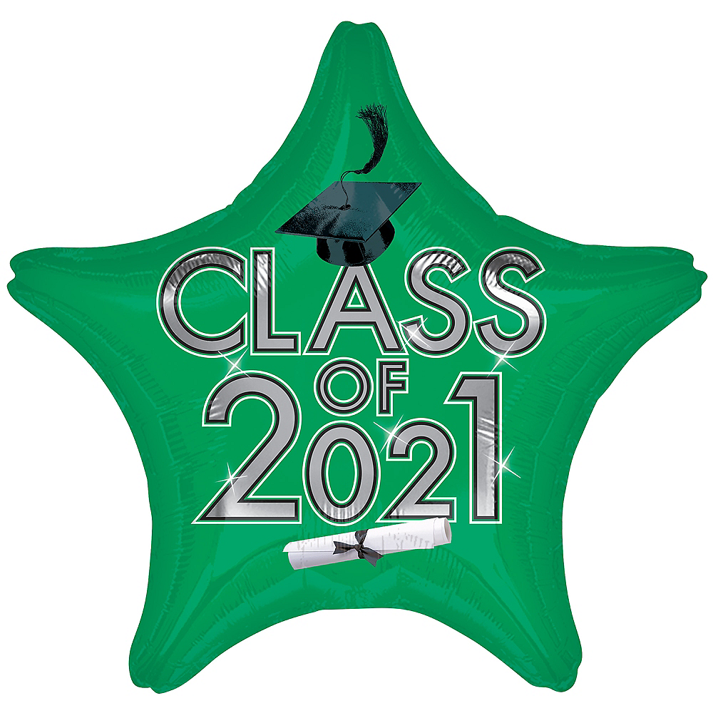 Green Class of 2020 Graduation Star Balloon, 19in Image #1