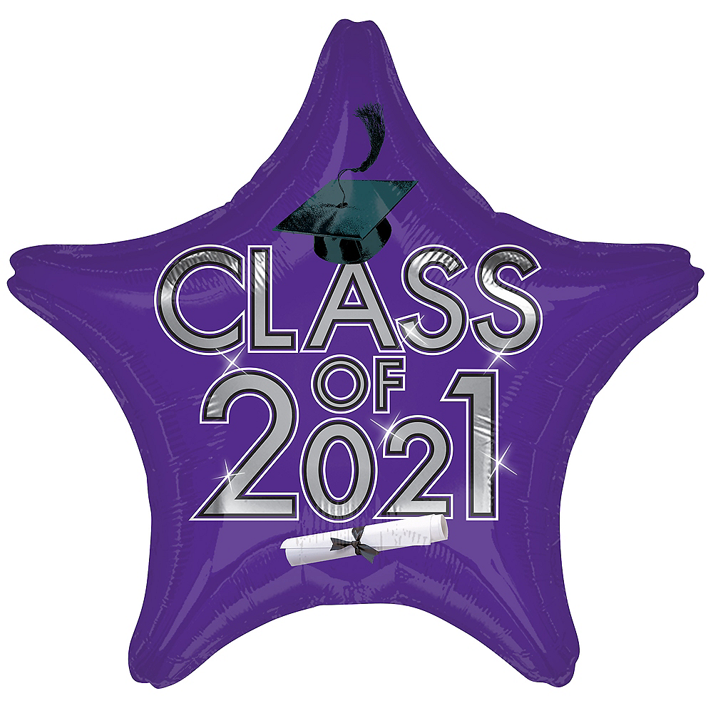 Purple Class of 2021 Graduation Foil Star Balloon, 19in Image #1