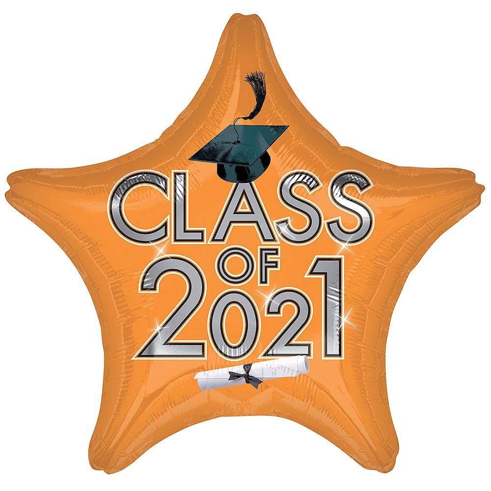 Orange Class of 2021 Graduation Foil Star Balloon, 19in Image #1