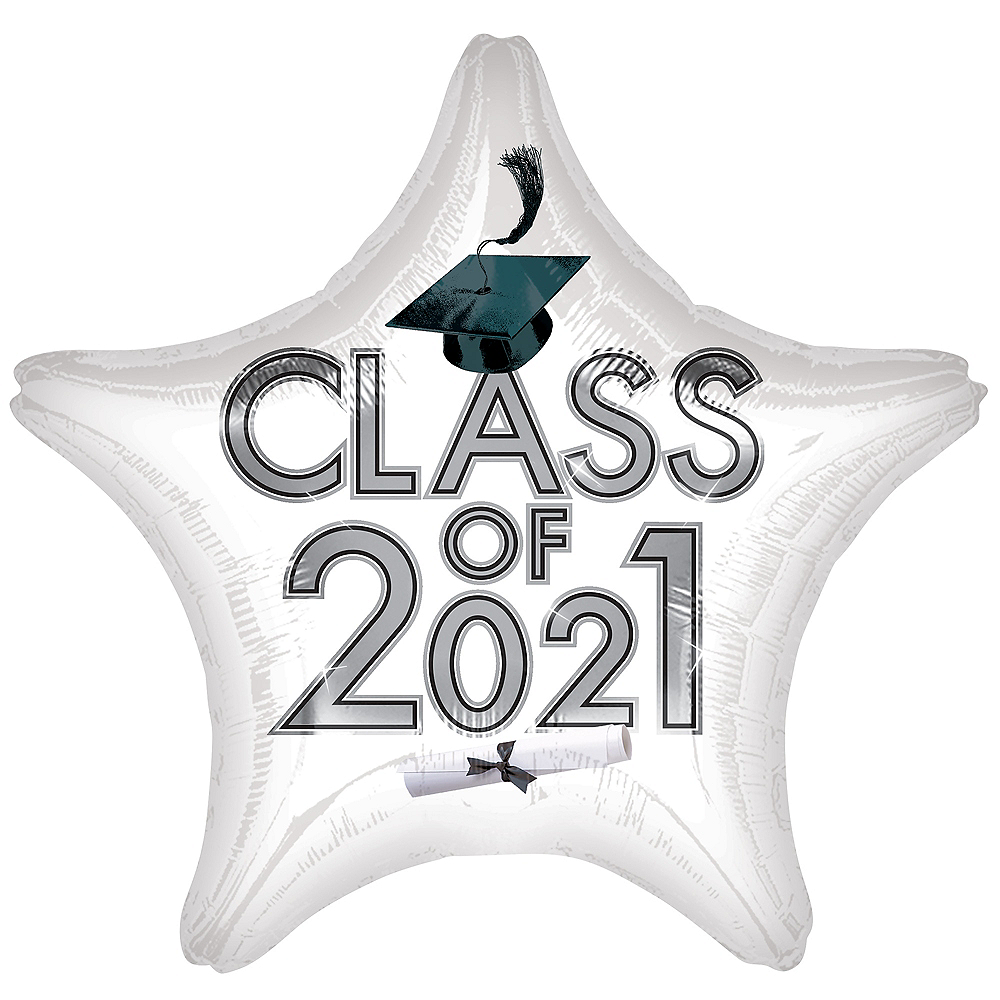 White Class of 2021 Graduation Foil Star Balloon, 19in Image #1