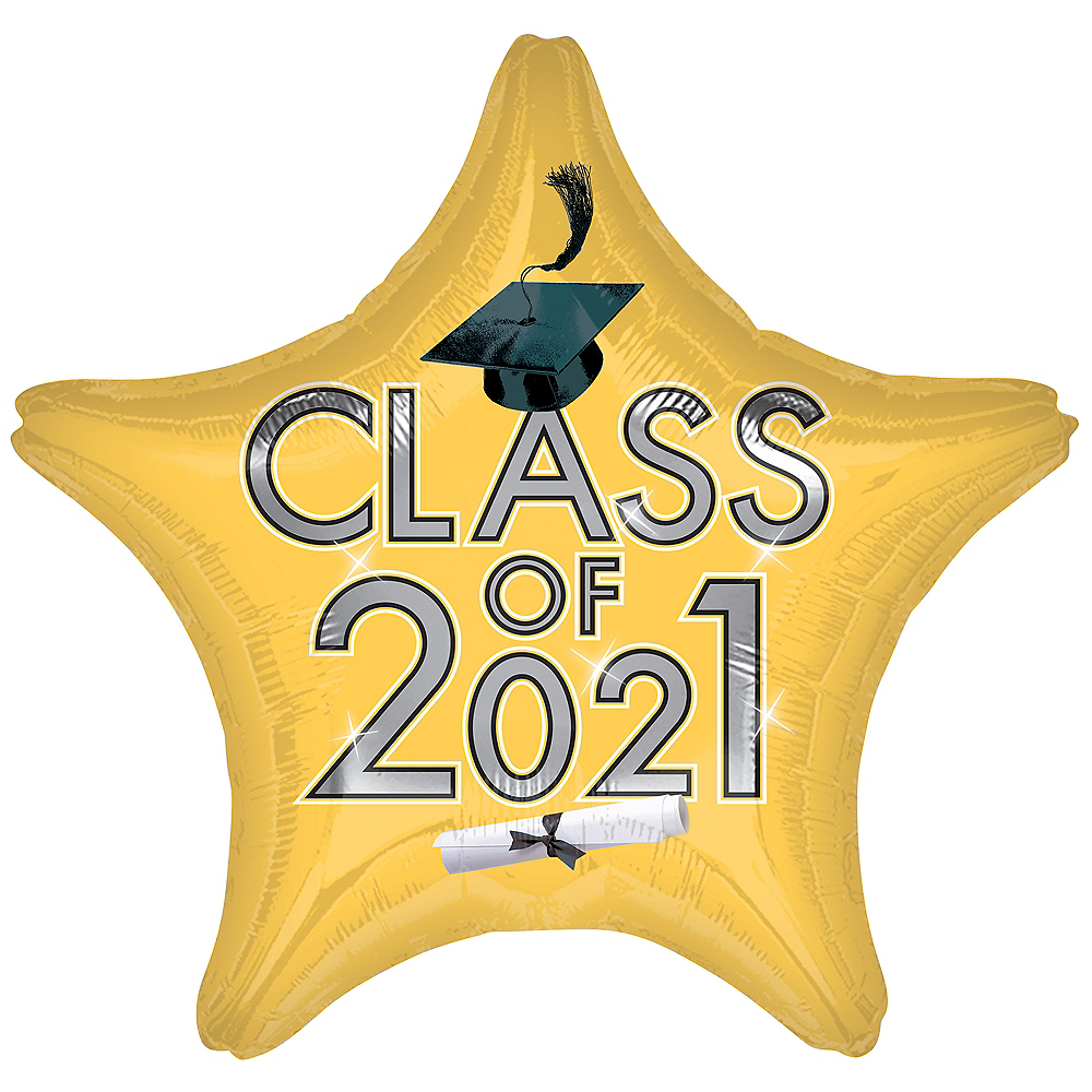 Gold Class of 2021 Graduation Foil Star Balloon, 19in Image #1