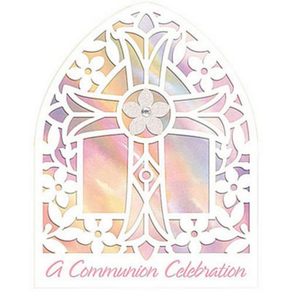 Novelty Pink Communion Invitations 8ct Image #1