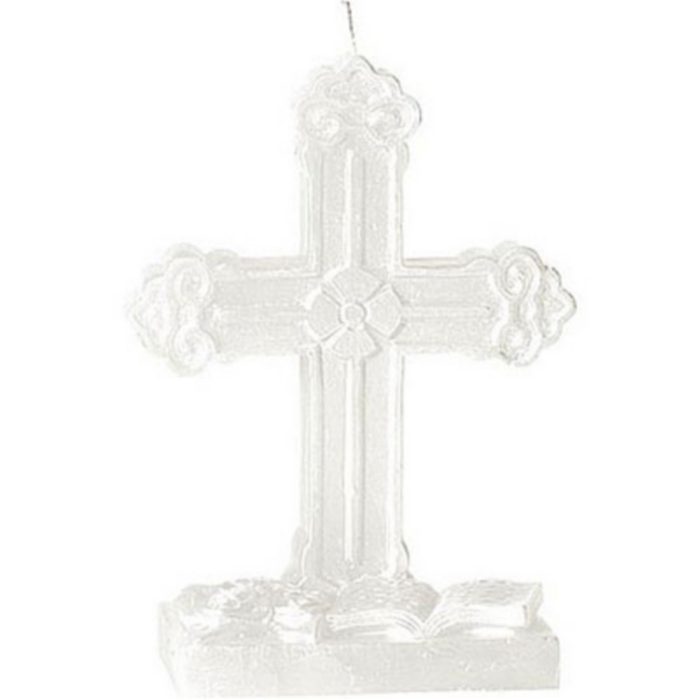 White Cross Mold Candle Image #1