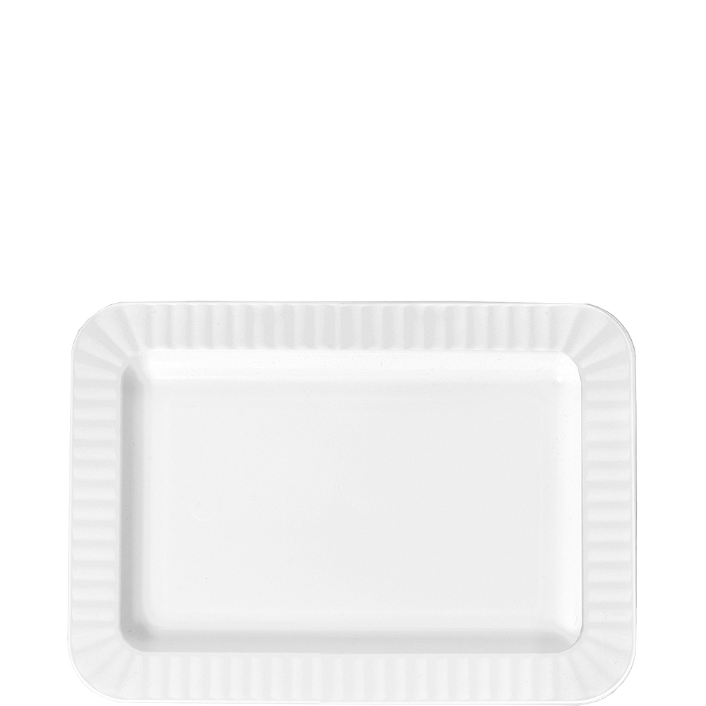 Nav Item for White Premium Plastic Rectangle Appetizer Plates 32ct Image #1