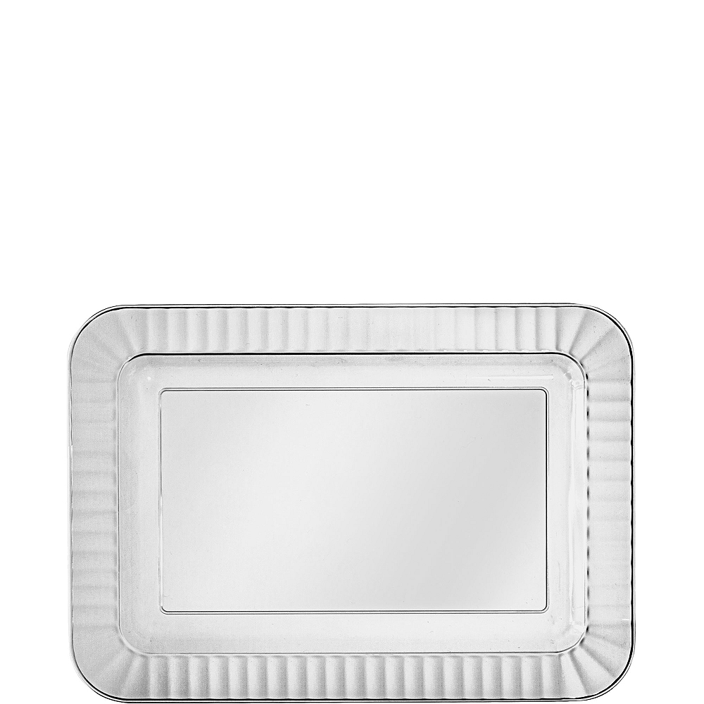 CLEAR Premium Plastic Rectangle Appetizer Plates 32ct Image #1