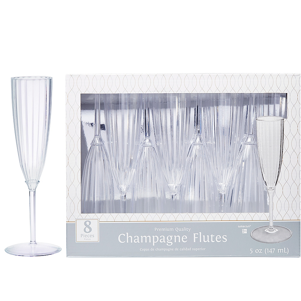 Clear Premium Plastic Champagne Flutes 8ct Party City