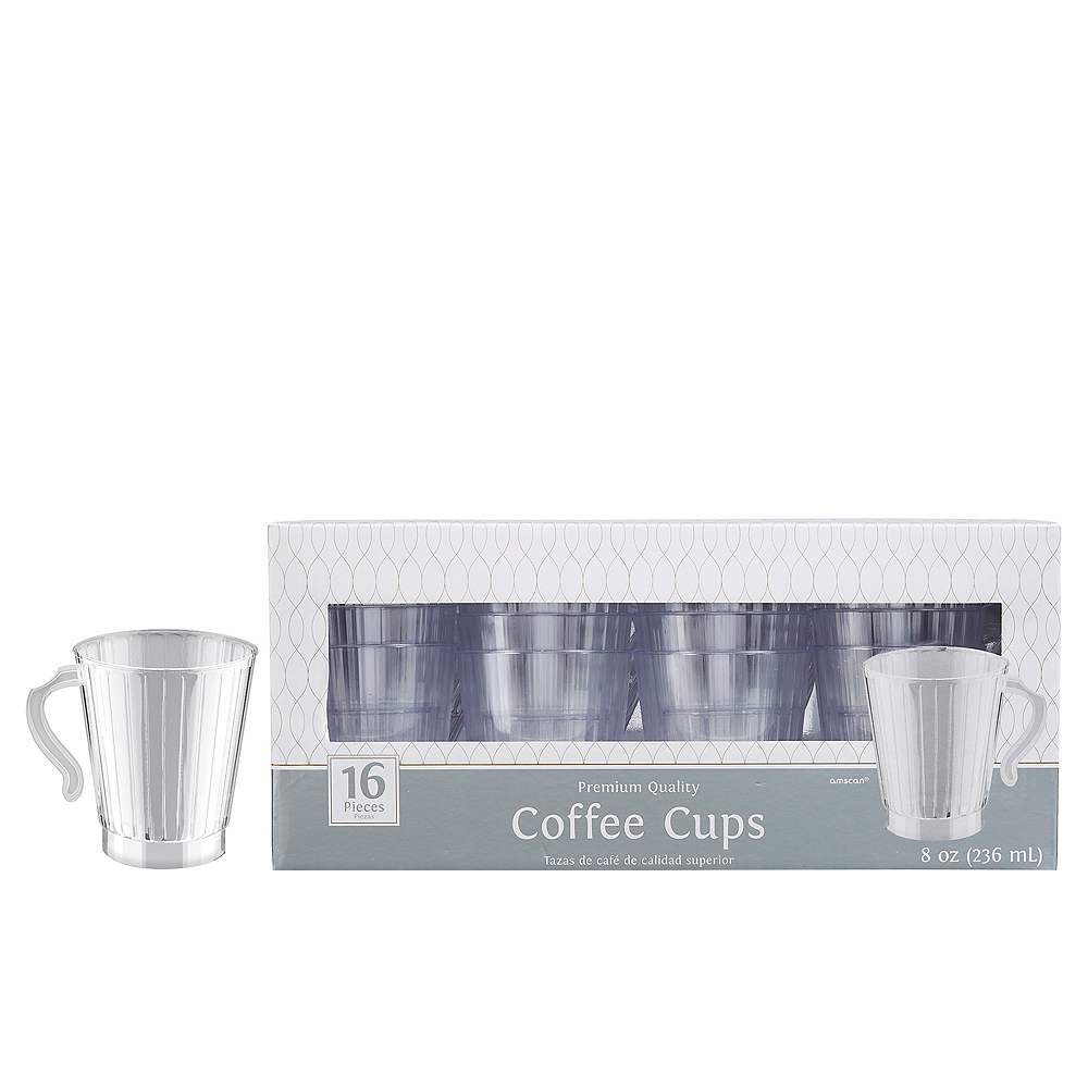CLEAR Premium Plastic Coffee Mugs 16ct Image #1
