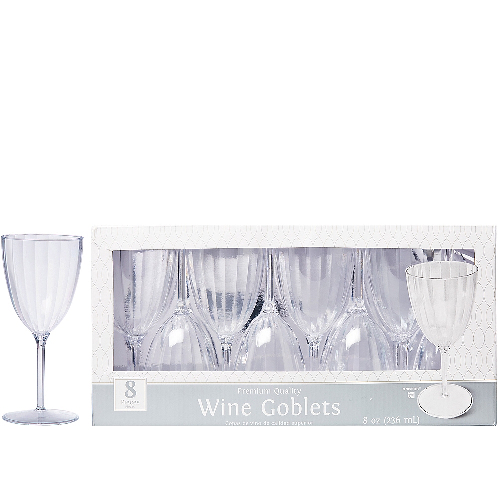 CLEAR Premium Plastic Wine Glasses 8ct Image #1
