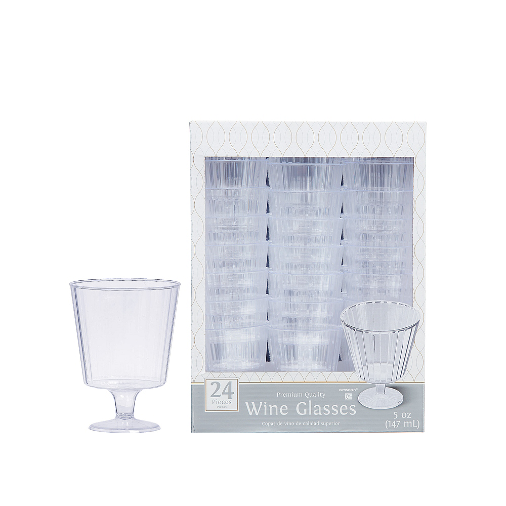 CLEAR Premium Plastic Wine Glasses 24ct Image #1