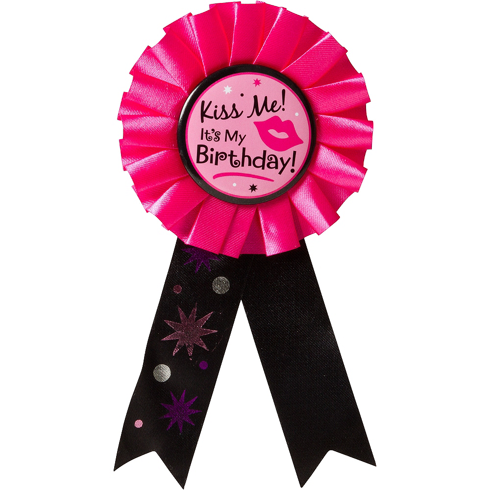 Kiss Me It's My Birthday Award Ribbon Image #1