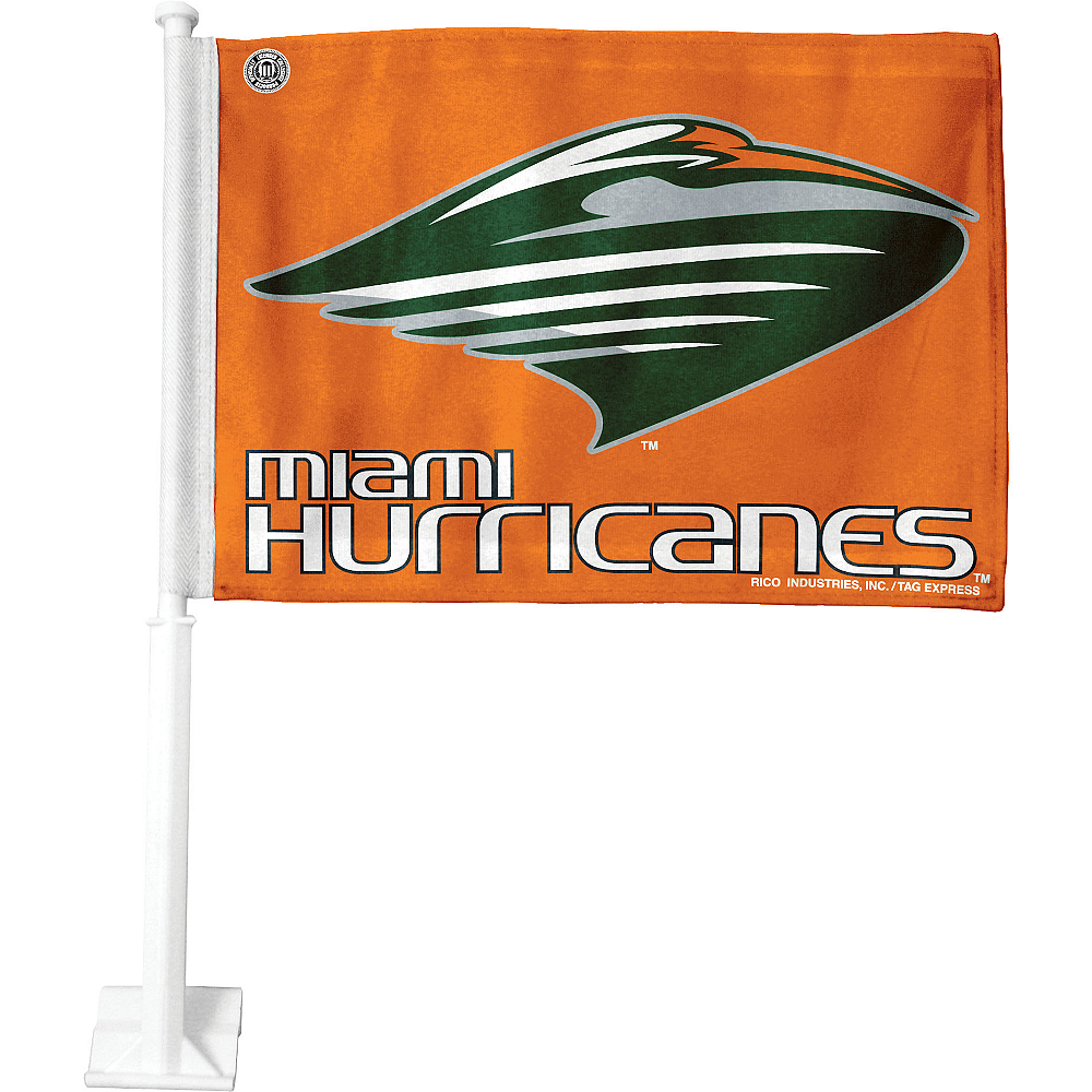 Nav Item for Miami Hurricanes Car Flag Image #1