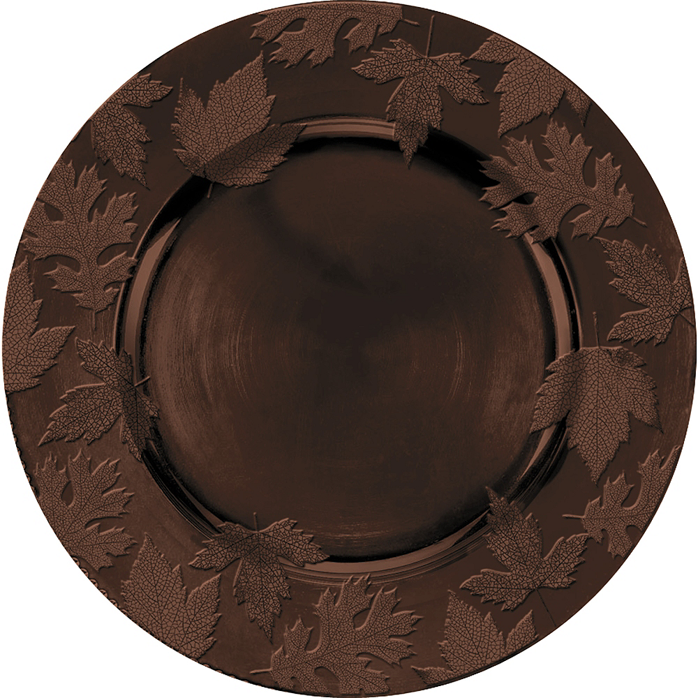 Brown Embossed Round Plastic Charger Image #1