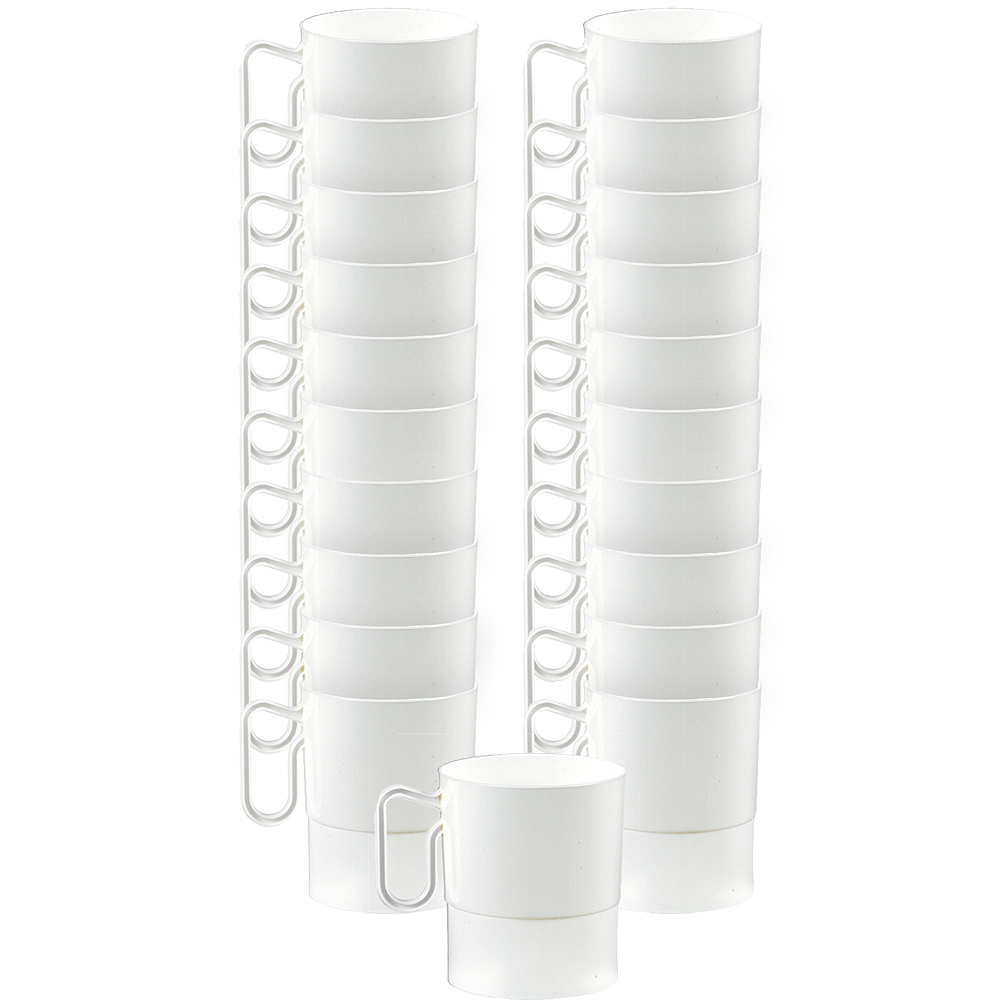 Big Party Pack White Plastic Coffee Mugs 20ct Image #1
