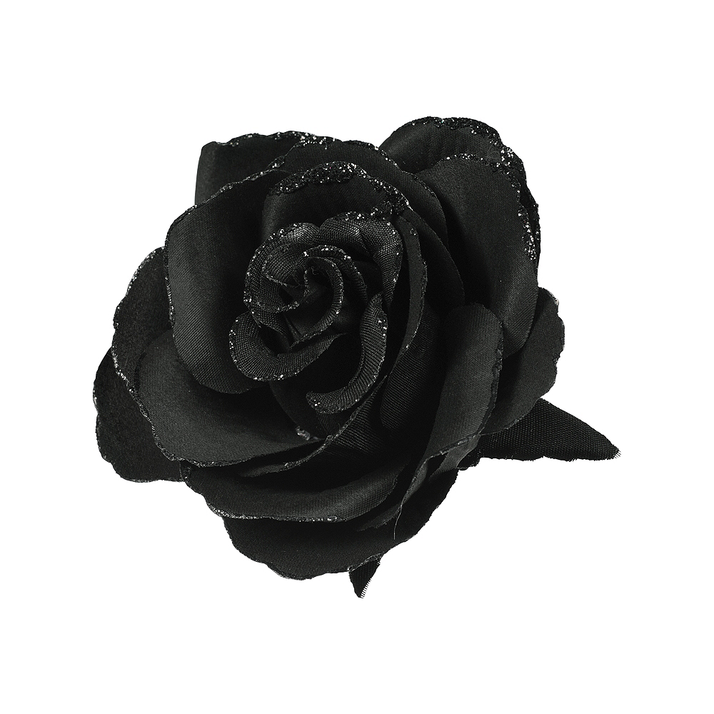 Gothic Black Flower Hair Clip Party City