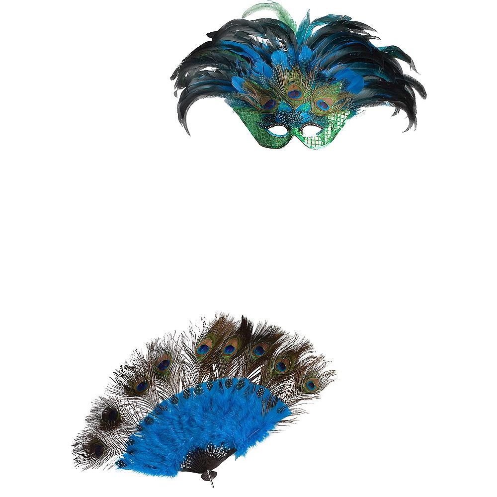 Peacock Masquerade Mask & Fan Image #2