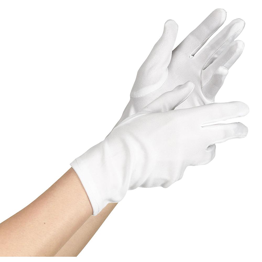 Womens White Short Gloves Image #1