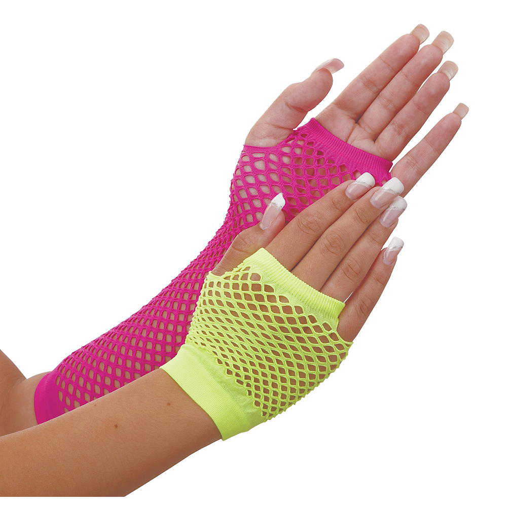 Neon Fishnet Gloves Image #1