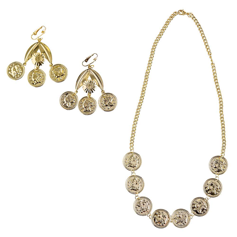 Gold Coin Necklace & Earrings Set Image #1