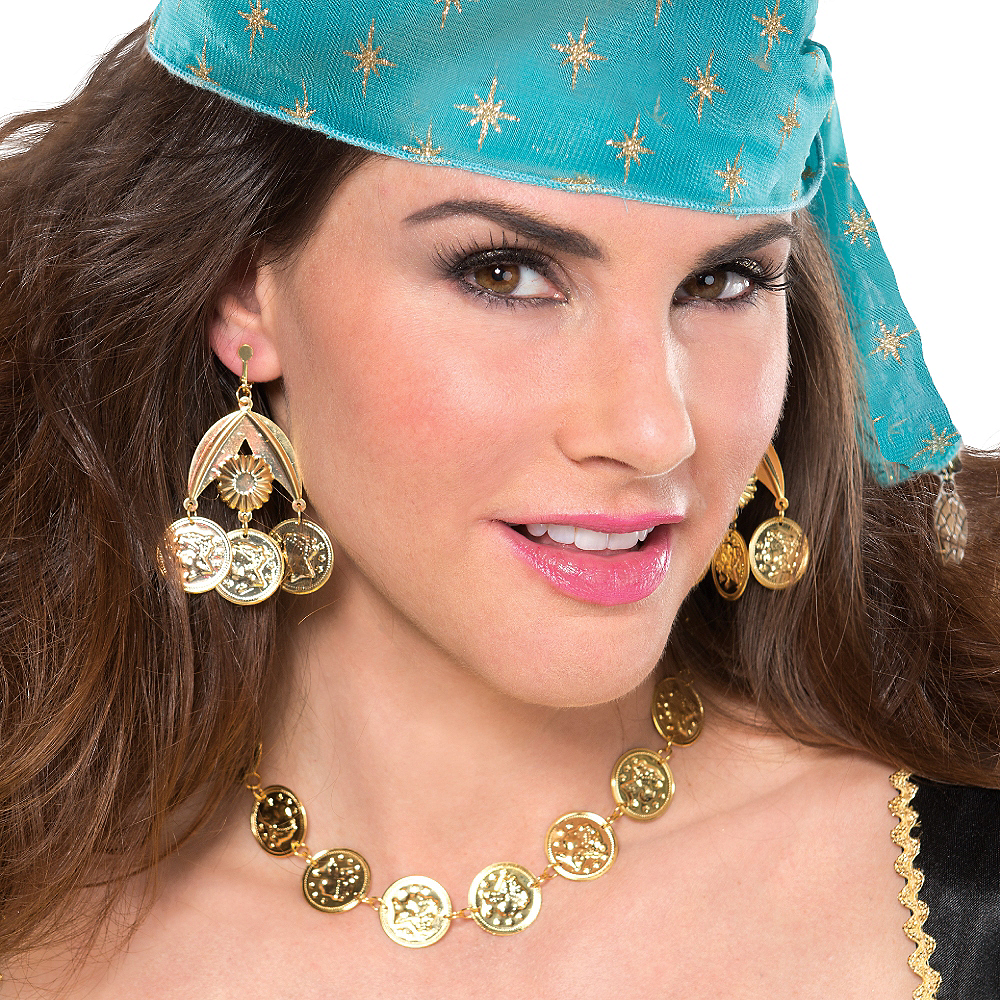 Gold Coin Necklace & Earrings Set Image #2