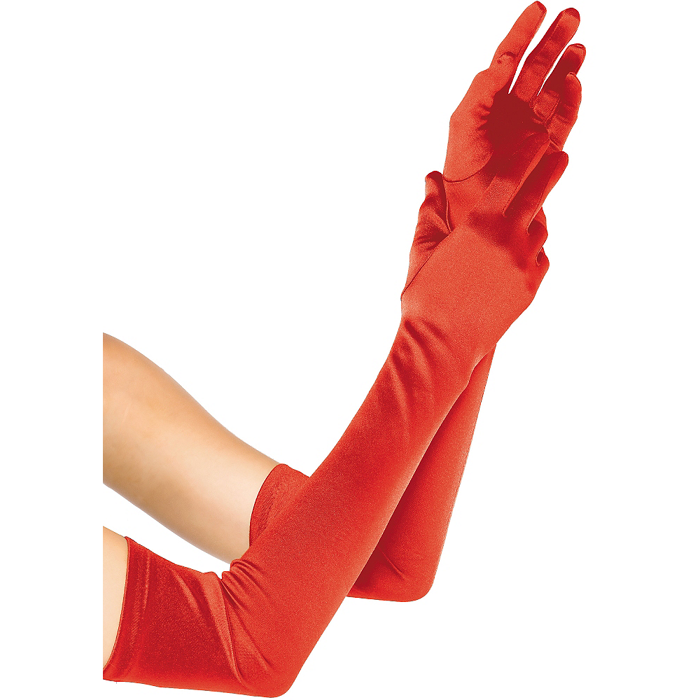 Adult Extra Long Red Satin Gloves Image #1