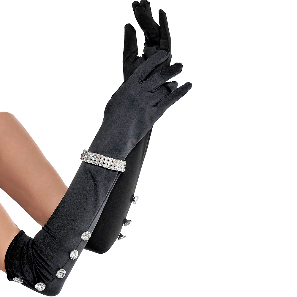 Long Satin Rhinestone Gloves Image #1
