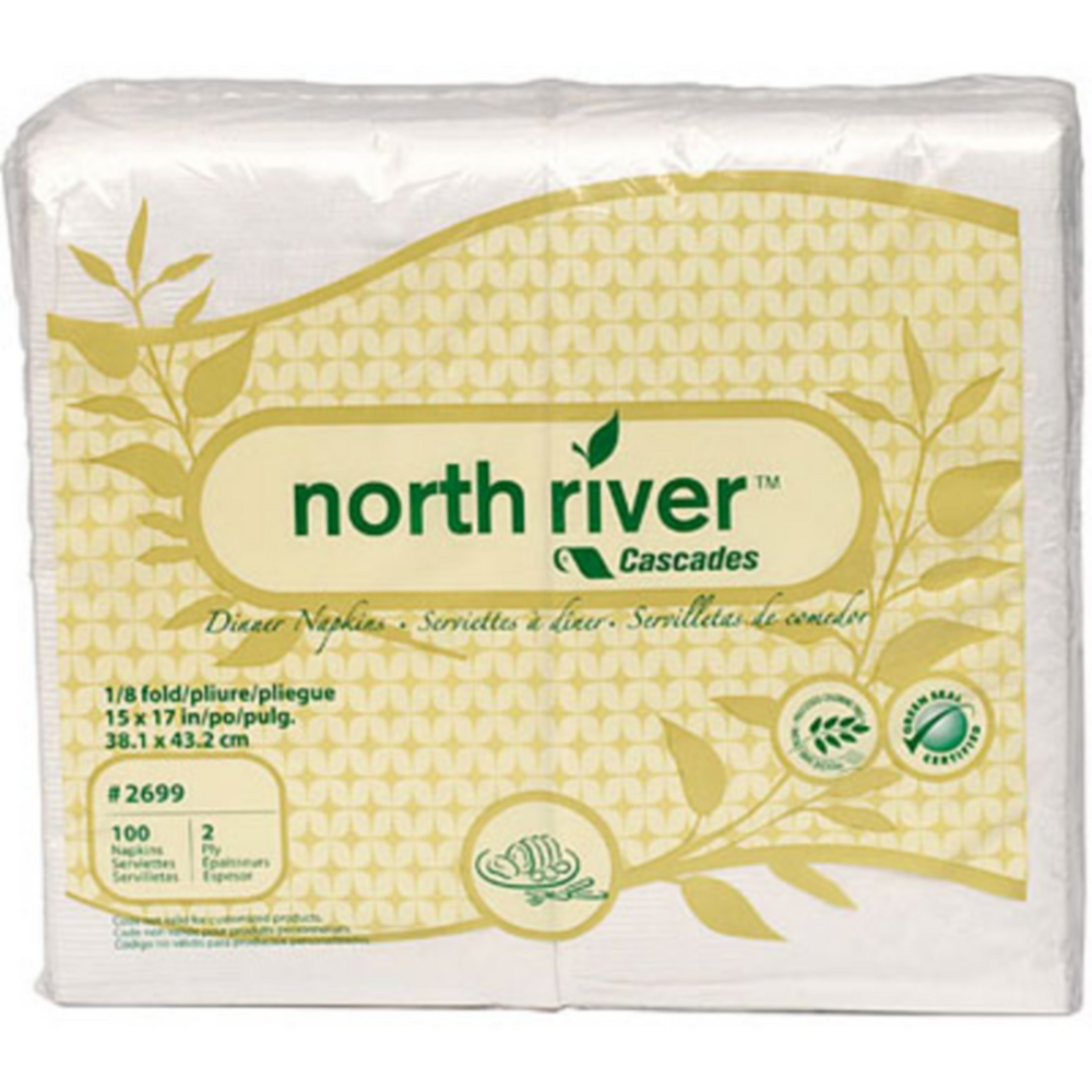 Eco-Friendly White Side-Fold Dinner Napkins 100ct Image #1