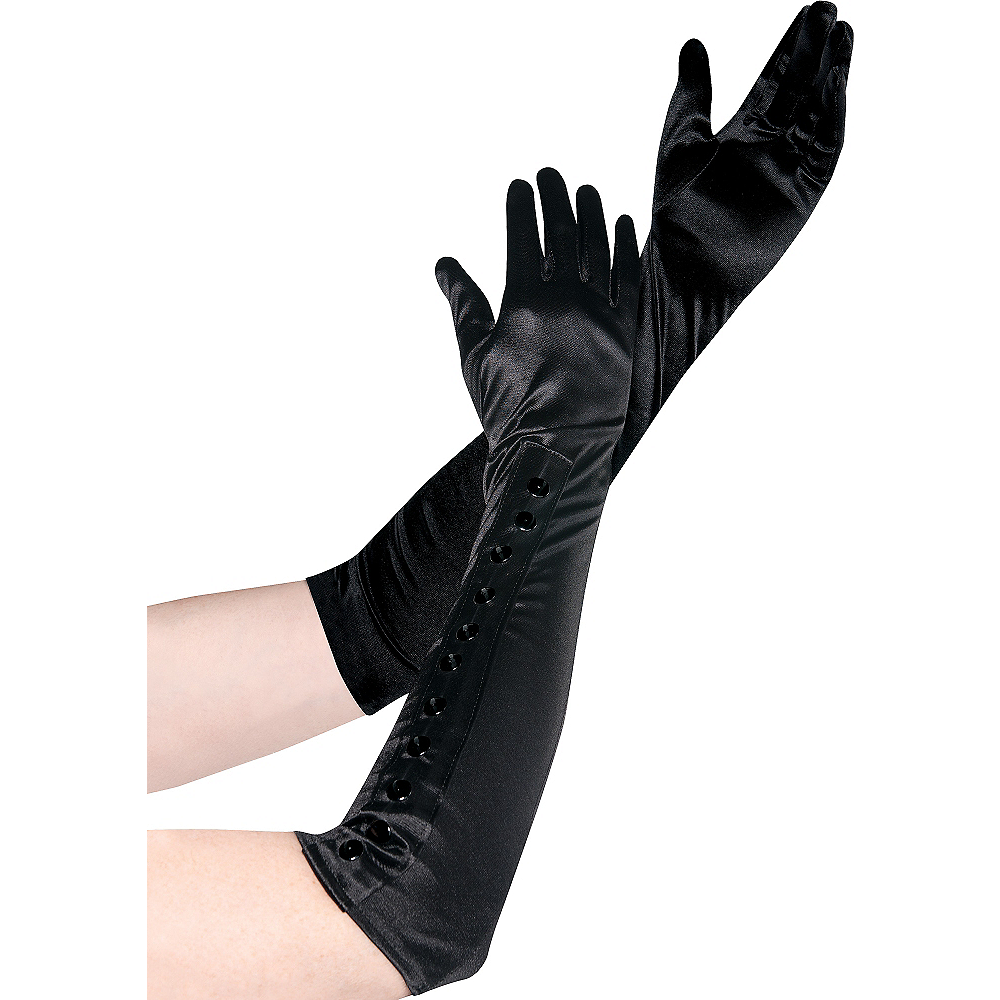 Long Satin Gloves with Snaps Image #1