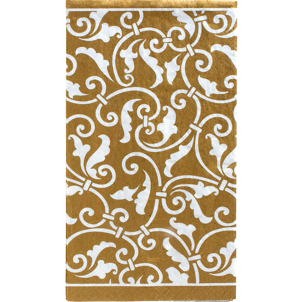 Nav Item for Gold Ornamental Scroll Guest Towels 16ct Image #1