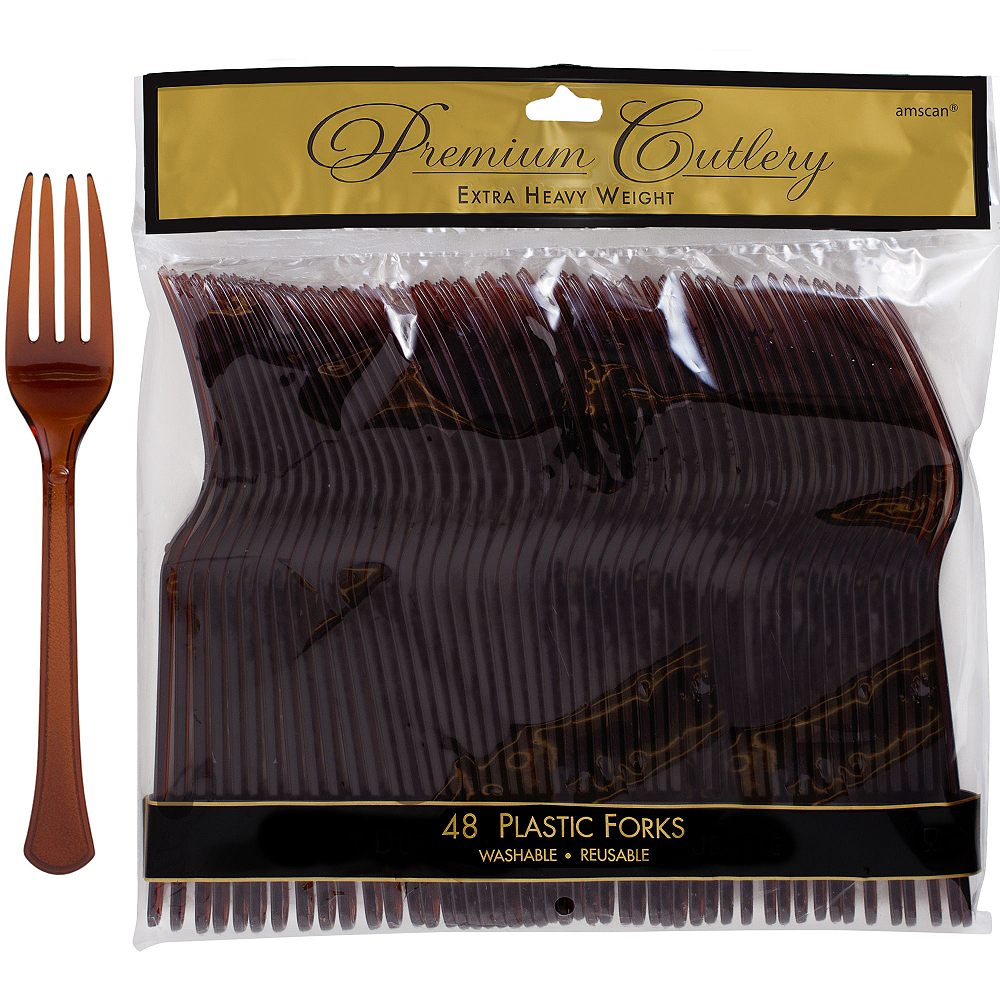 Chocolate Brown Premium Plastic Forks 48ct Image #1