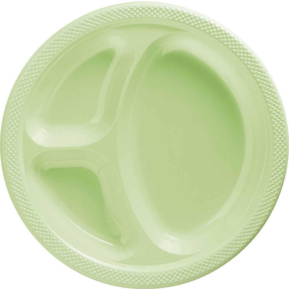 Leaf Green Plastic Divided Dinner Plates 20ct Party City