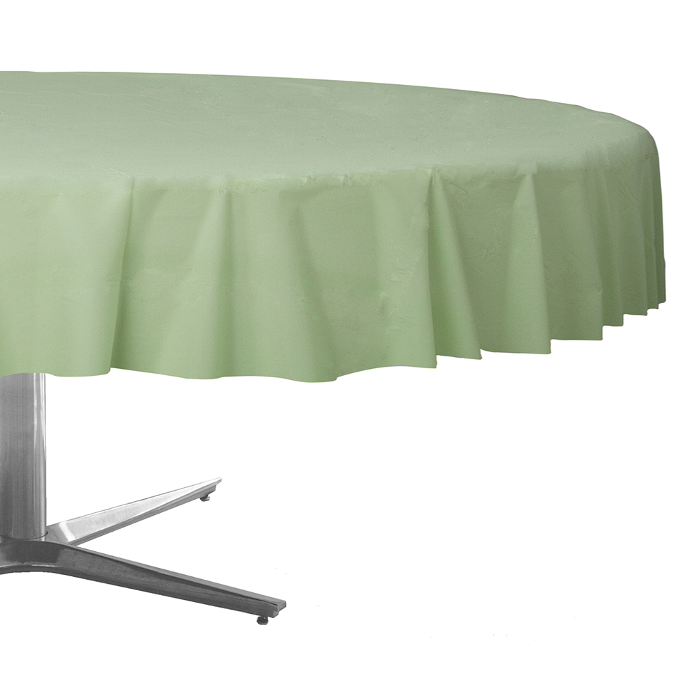 Leaf Green Plastic Round Table Cover Image #1