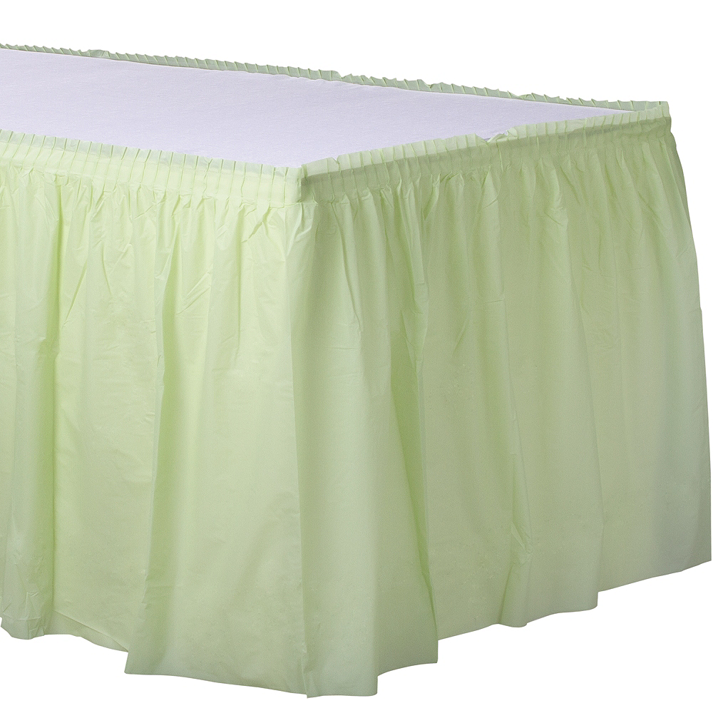 Leaf Green Plastic Table Skirt Image #1
