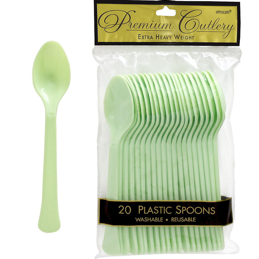 Nav Item for Leaf Green Premium Plastic Spoons 20ct Image #1