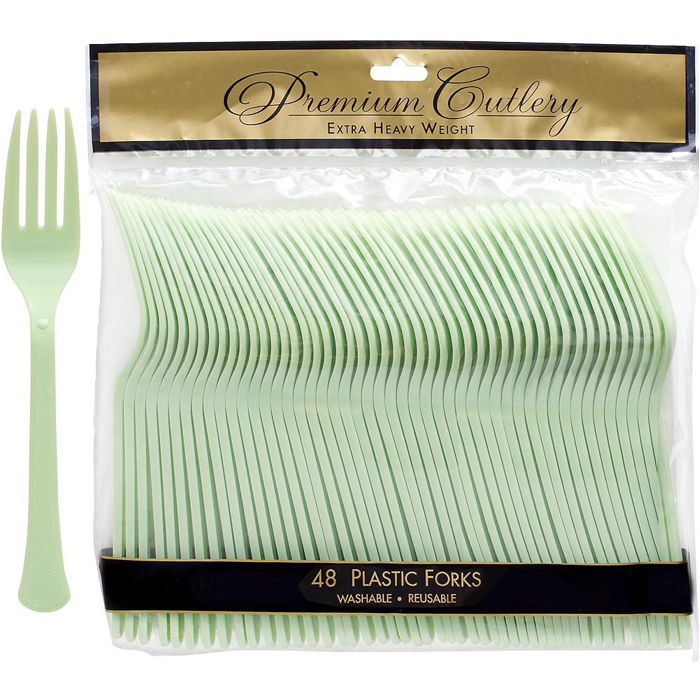 Leaf Green Premium Plastic Forks 48ct Image #1
