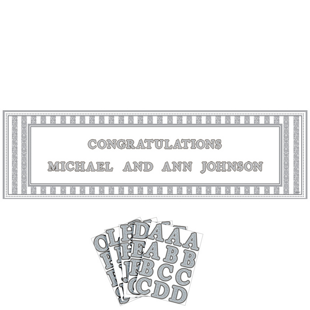 Giant Silver Wedding Personalized Banner Kit Image #1