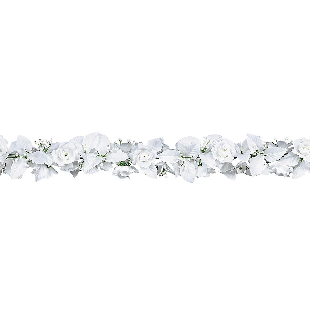 White Rose & Leaf Garland 6ft Image #1
