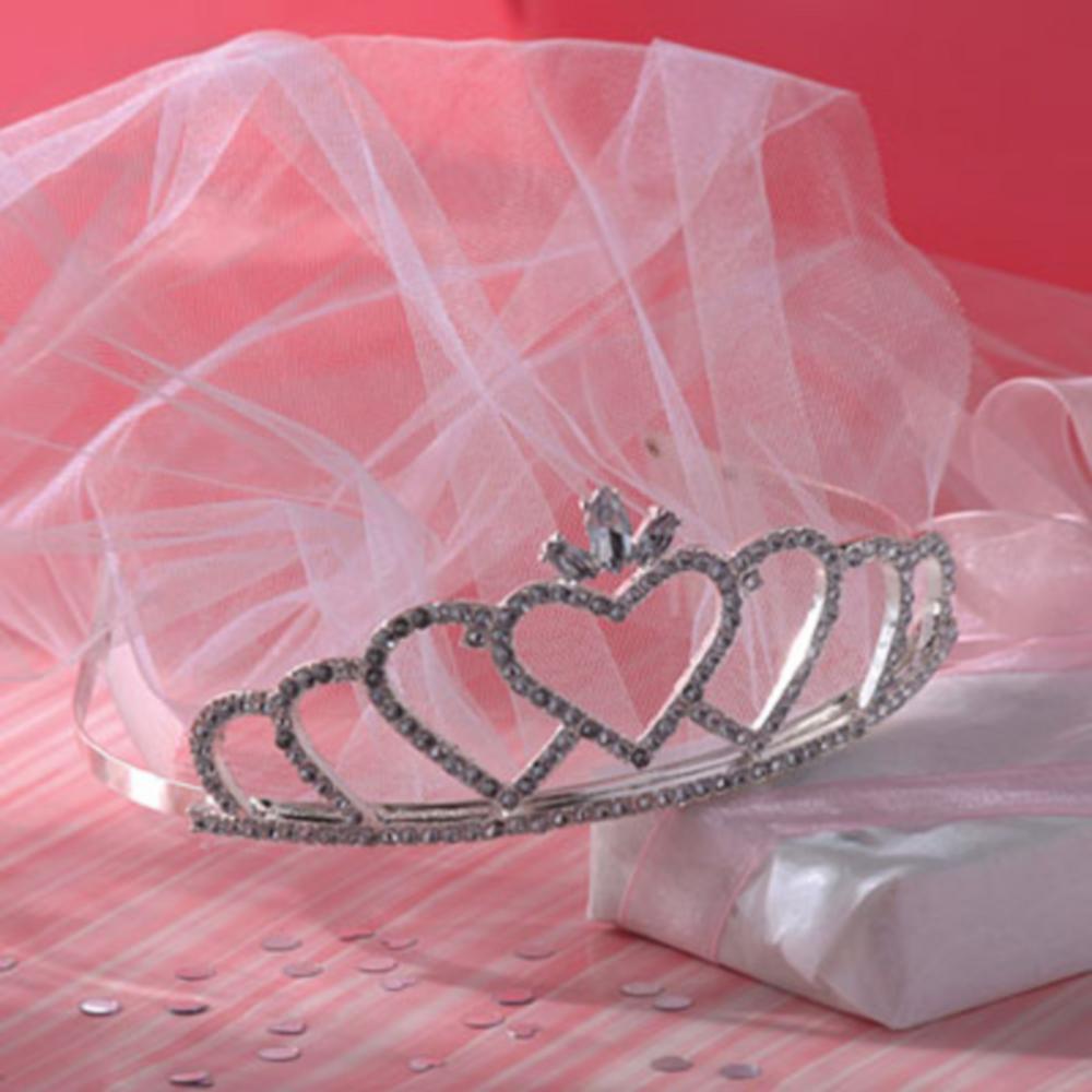Rhinestone Wedding Tiara with Veil Image #1