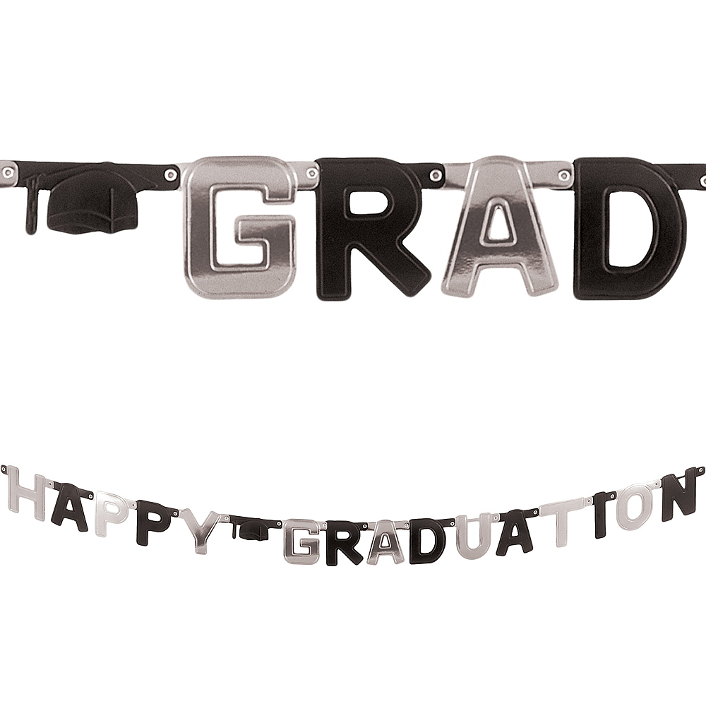 Black & Silver Happy Graduation Letter Banner Image #1