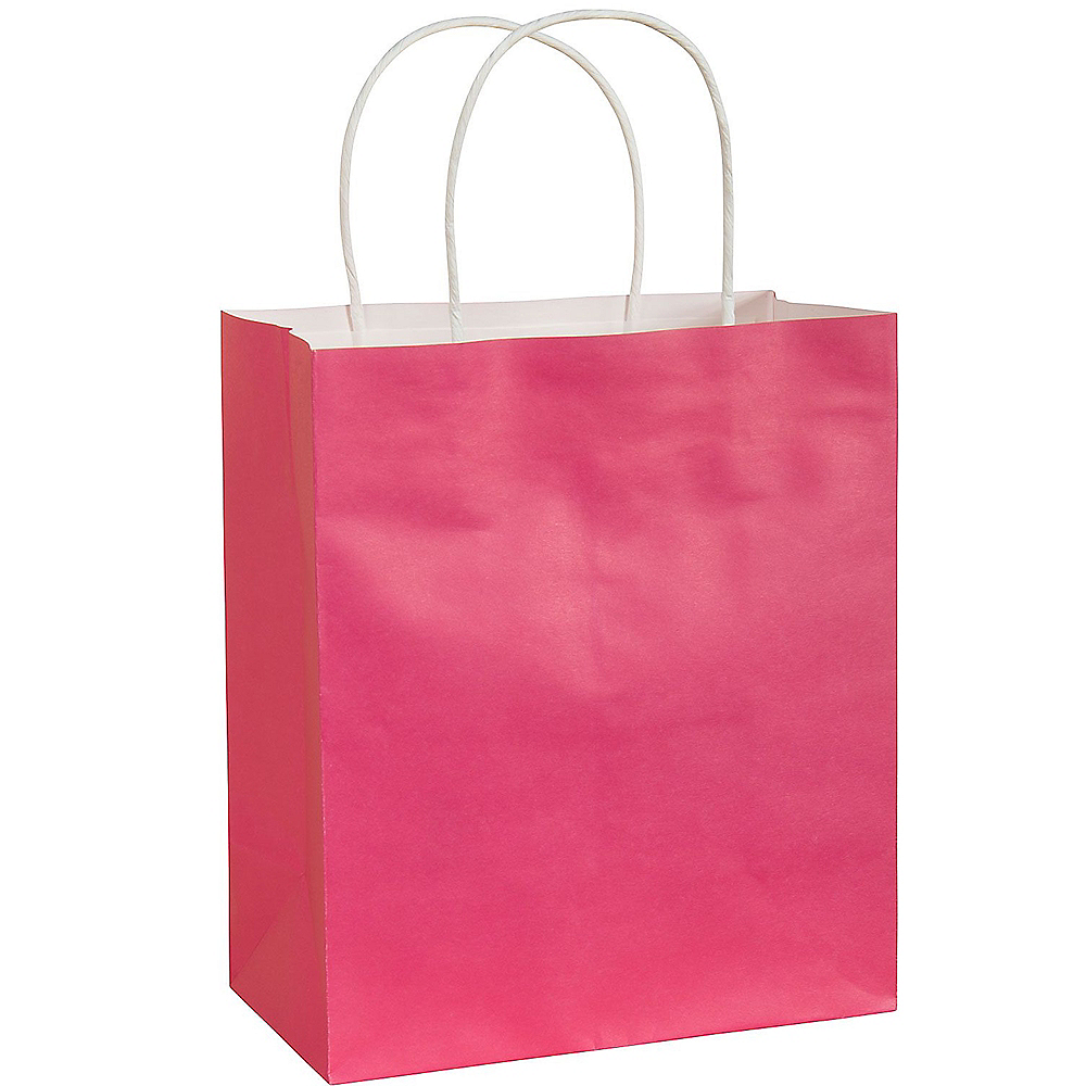 Medium Bright Pink Paper Gift Bag Image #1