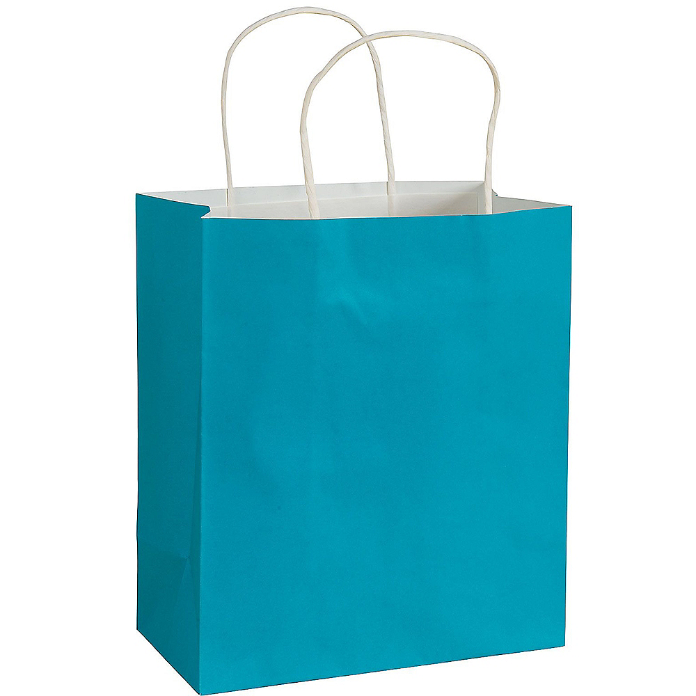 Medium Caribbean Blue Paper Gift Bag Image #1