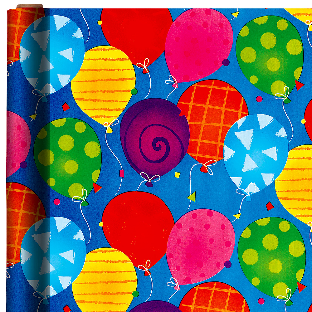 Nav Item for Jumbo Bright Balloon Gift Wrap Image #1